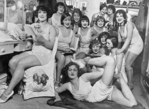 The Hoffman Girls backstage before appearing at the Moulin Rouge in Paris. 1924